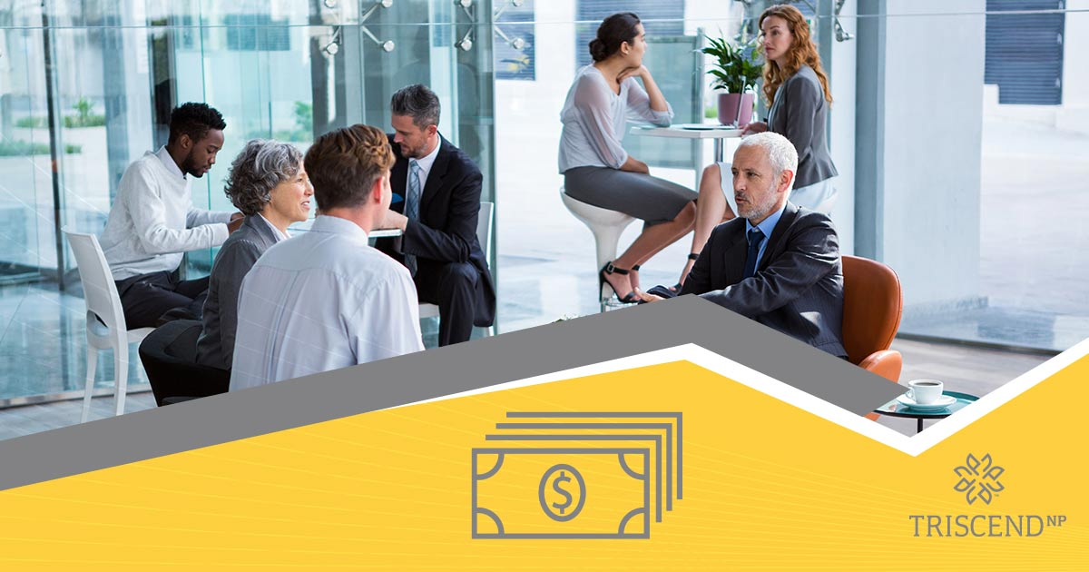 Business people in glass room, dollar bills icon