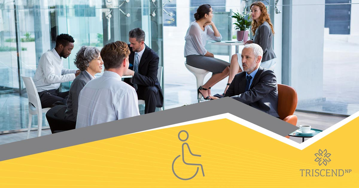 Business people in glass room, disability icon